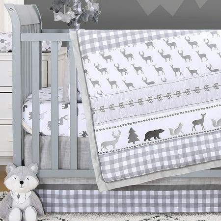 Forest Dream 3 Piece Baby Crib Bedding Set Grey Woodland Animal Theme