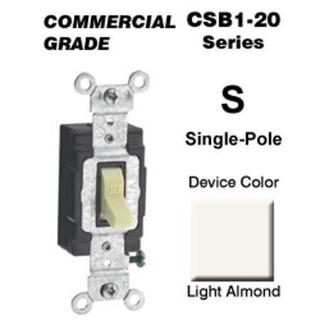 Leviton CSB1-20T 20 Amp Single-Pole Toggle Switch Commercial - Light Almond