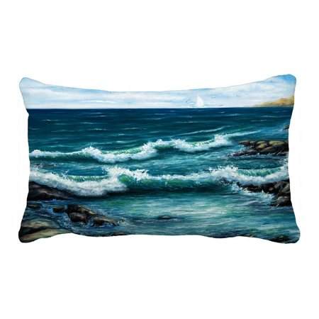 PHFZK Ocean Pillow Case, Oil Painting Sea Wave and Ship Boat Pillowcase Throw Pillow Cushion Cover Two Sides Size 20x30 inches