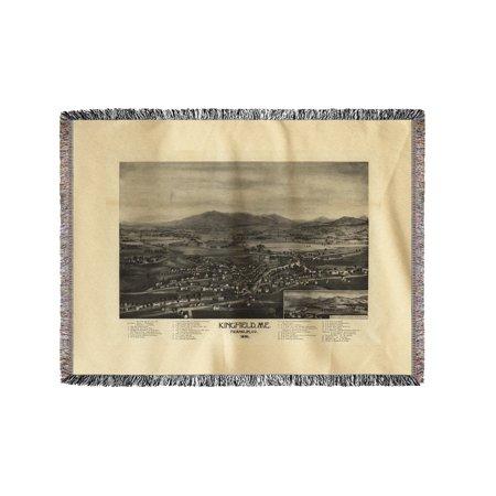 Kingfield Maine Map.Kingfield Maine Panoramic Map 60x80 Woven Chenille Yarn Blanket