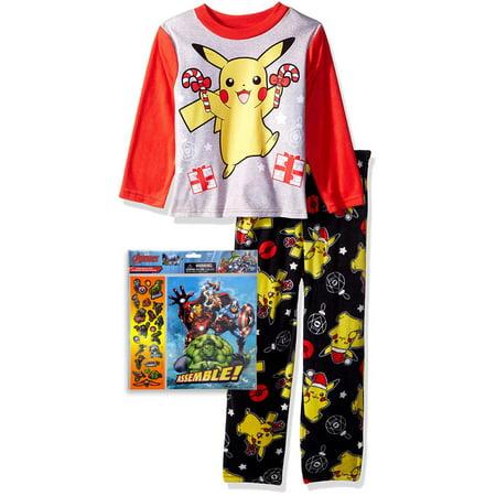 Pokemon Boys' Little Pikachu Fleece Pajama Set with Avengers Stickers, Pikachu, Size: 4 - Pokemon Boy Characters