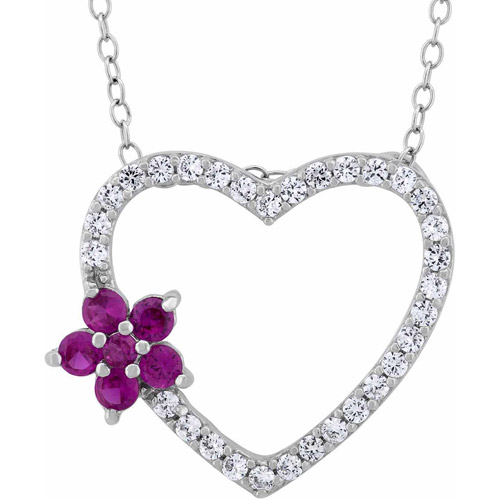 Created Ruby Flower and CZ Sterling Silver Open Heart Pendant, 18""