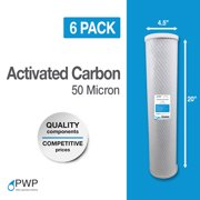 """4.5 x 20"""" Carbon Block Water Filter 50 Micron 6 Pack"""