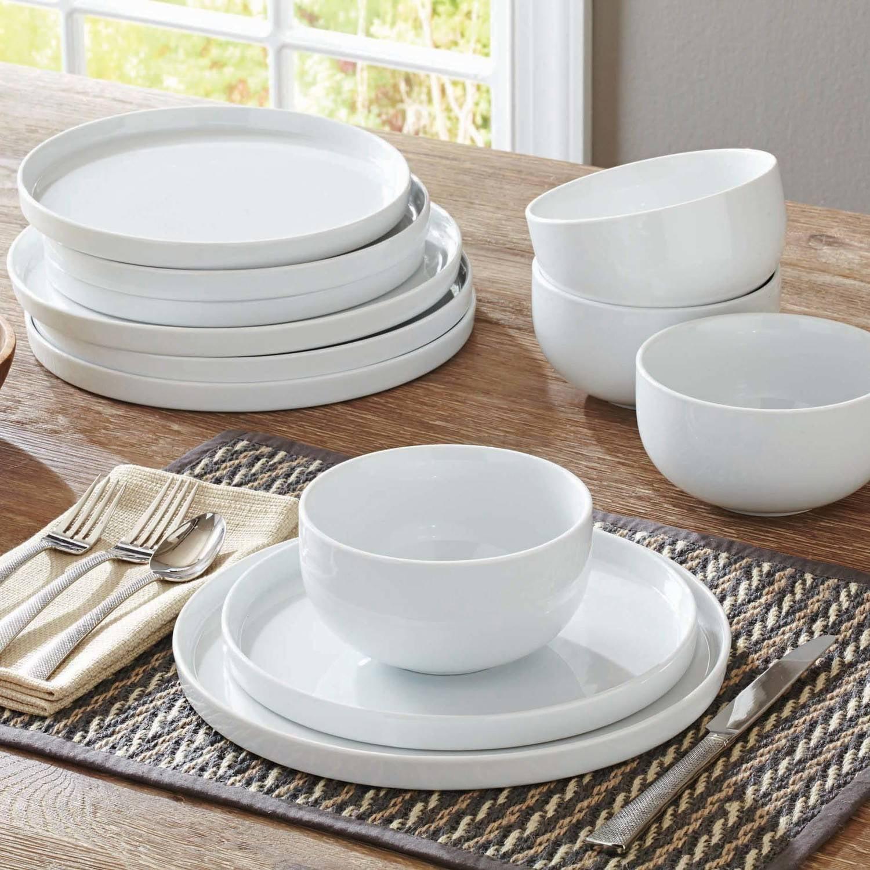 better homes and gardens modern rim piece dinnerware set white walmartcom. better homes and gardens modern rim piece dinnerware set white