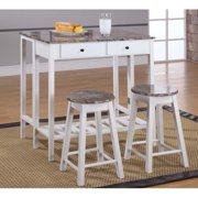 3-Piece Breakfast Pub Set White   Marble by InRoom Designs
