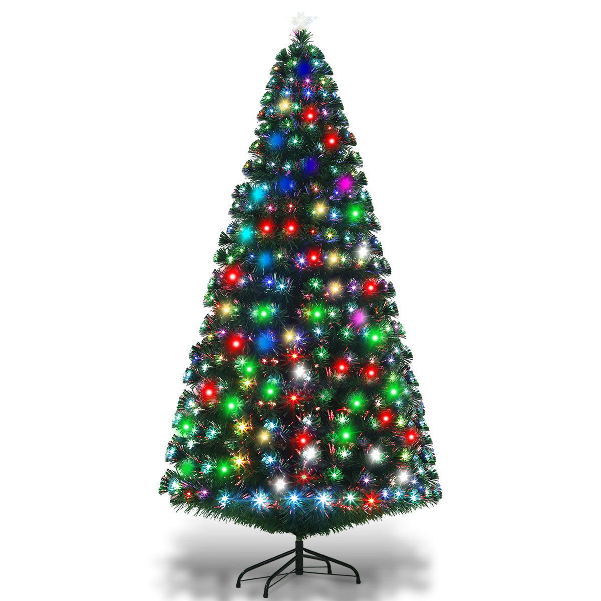 7Ft Fiber Optic Artificial Christmas Tree w/ 275 Multi ...