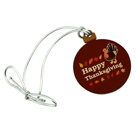 Happy Thanksgiving Turkey Mini Small Tiny Wood Christmas Tree Holiday Ornament ()