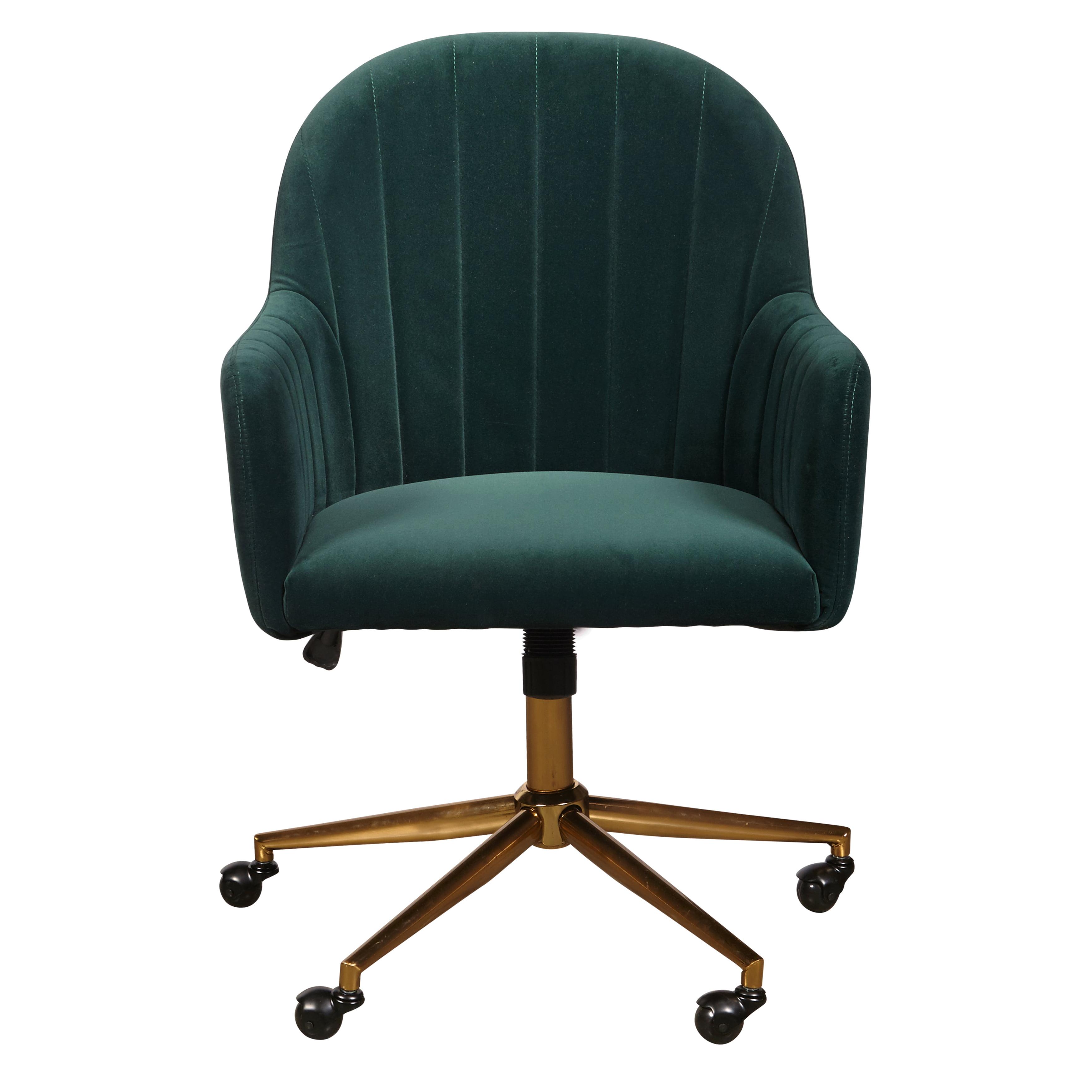 Upholstered Channel Tufted Office Chair In Emerald Green Velvet Walmart Com Walmart Com