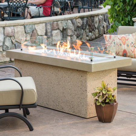 Image of Outdoor GreatRoom Key Largo Brown Fire Pit Table with Optional Glass Guard