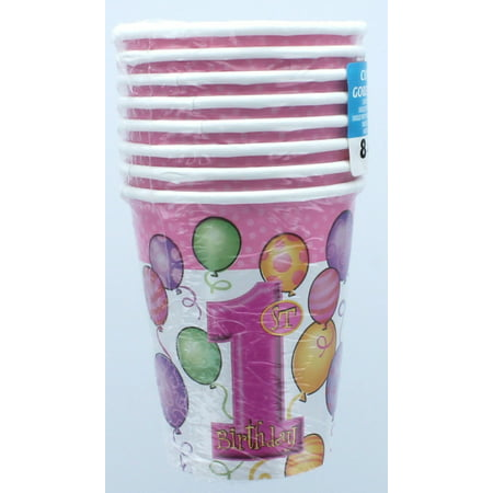9oz Paper Pink Balloons 1st Birthday Cups, 8ct (Pink Party Cups)