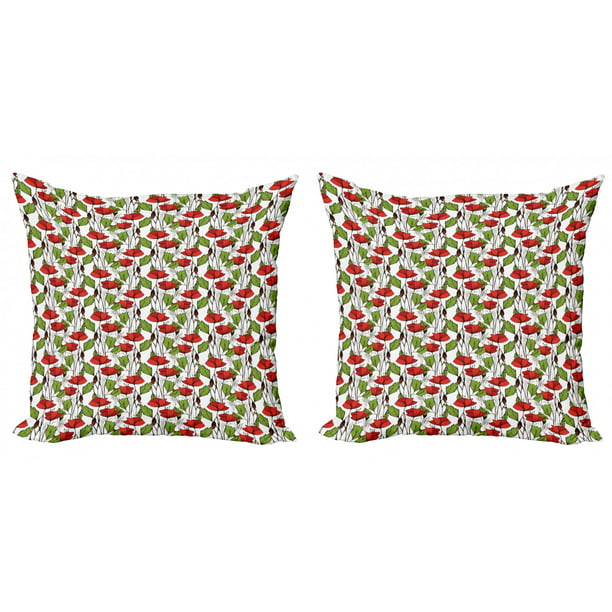 Floral Throw Pillow Cushion Cover Pack Of 2 Close Up View Of Blooming Poppy Flowers And Leaves Zippered Double Side Digital Print 4 Sizes Vermilion Lime Green By Ambesonne Walmart Com Walmart Com