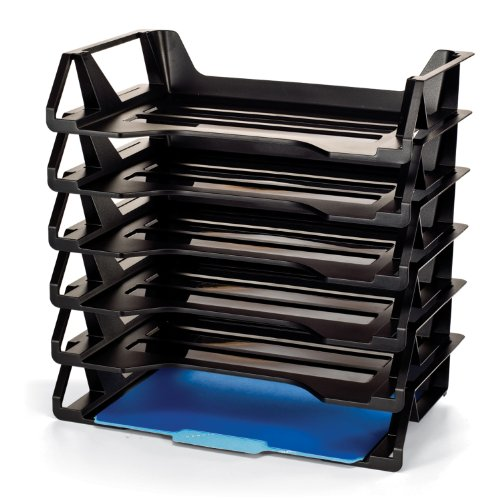 "Oic Side Loading Letter Trays - 15"" Height X 15.1"" Width X 8.9"" Depth - 6 Tier[s] - Plastic - Black (26212)"