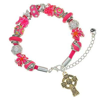 Goldtone Large Celtic Cross Hot Pink Flowers Bead Bracelet ()