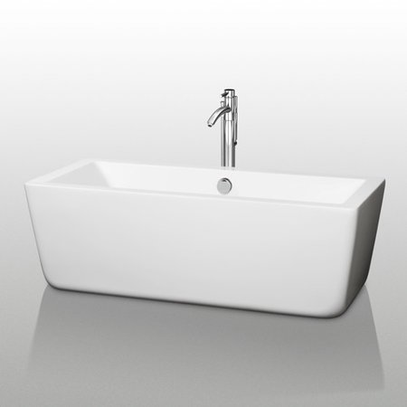 Wyndham Collection Laura 59 Inch Freestanding Bathtub In White With Brushed Nickel Drain And Overflow Trim