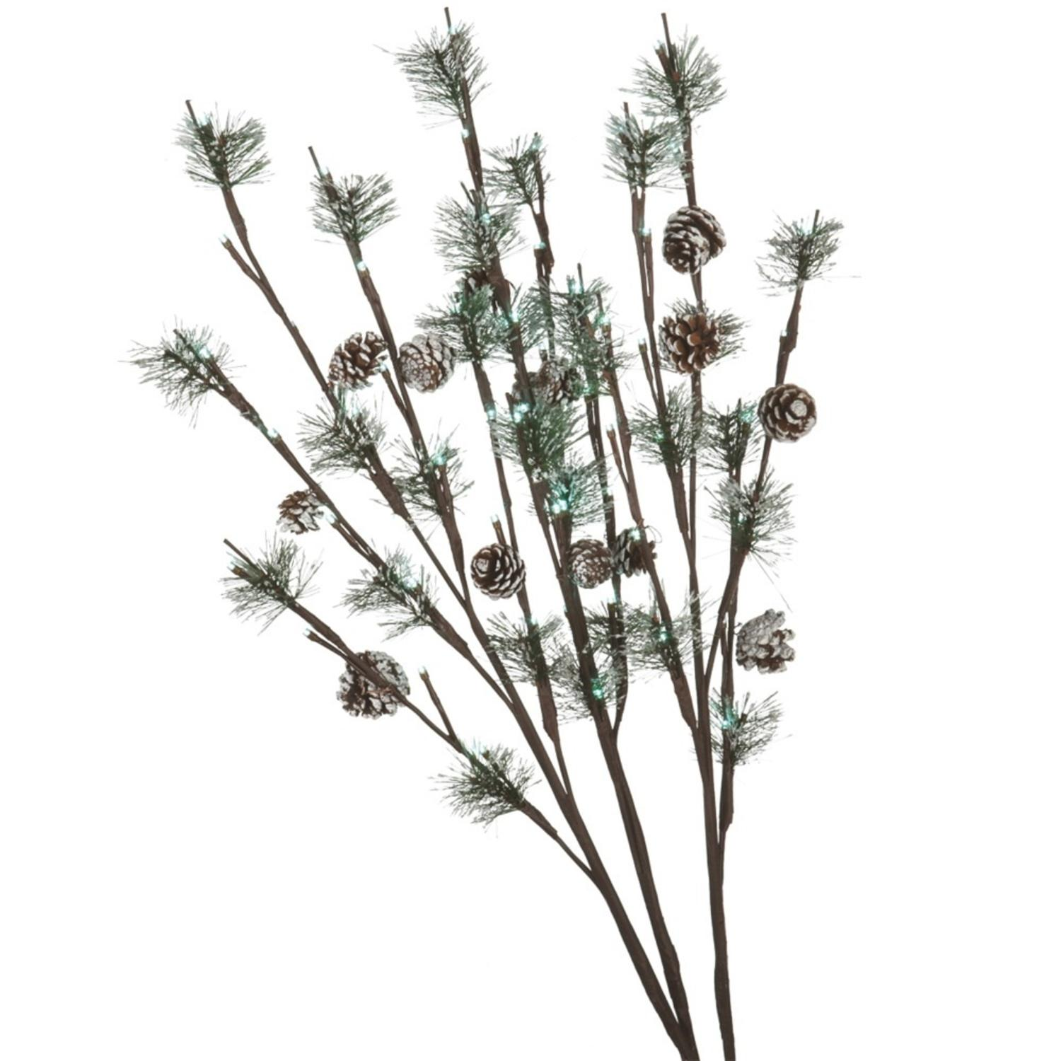 Set of 3 LED Lighted Frosted Artificial Pine Cone Christmas Twig Sprays 30""