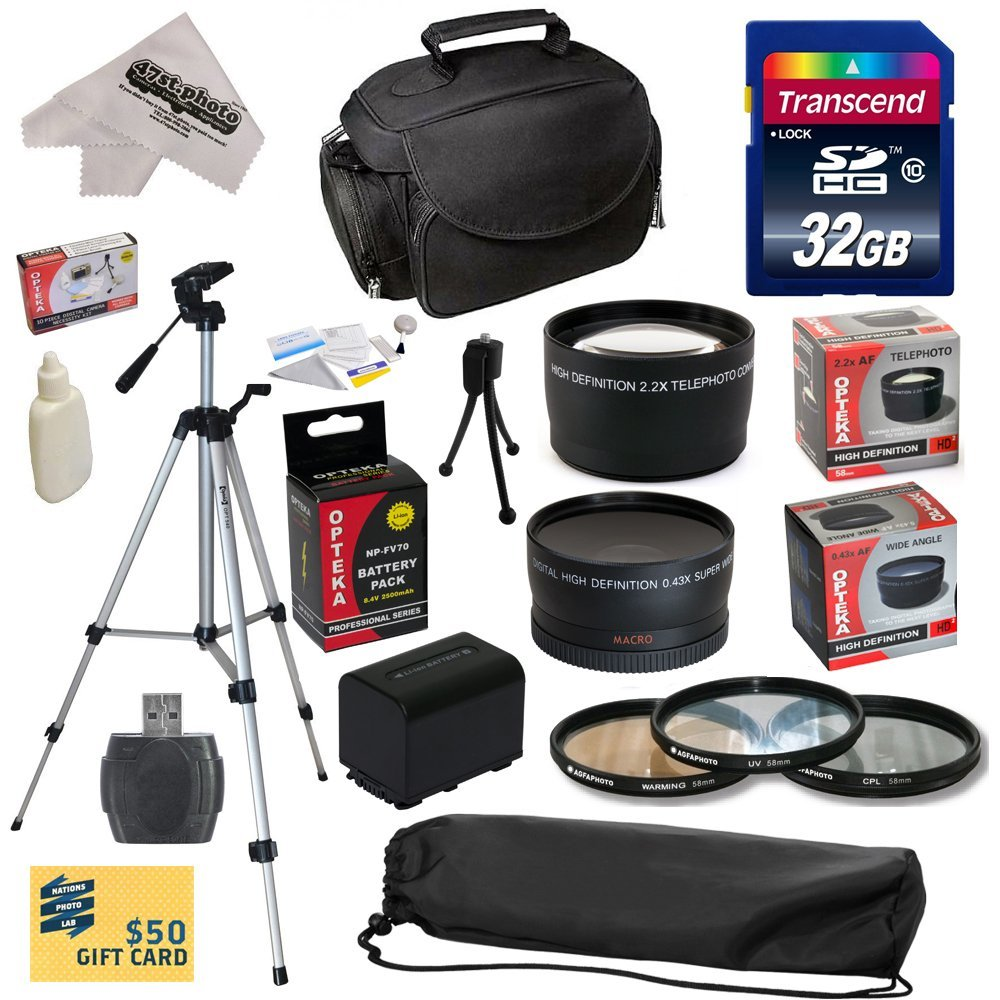 Ultimate Accessory Kit for Sony CX900 Camcorder with 32GB SDHC Card, Card Reader, Opteka NP-FV70 2500mAh Battery, 3 Piece Pro Filter Kit , 0.43x + 2.2x  Lens, Carrying Case, Tripod