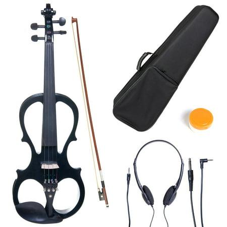Cecilio 4/4 CEVN-1BK Solidwood Metallic Black Electric/Silent Violin with Ebony Fittings-Full