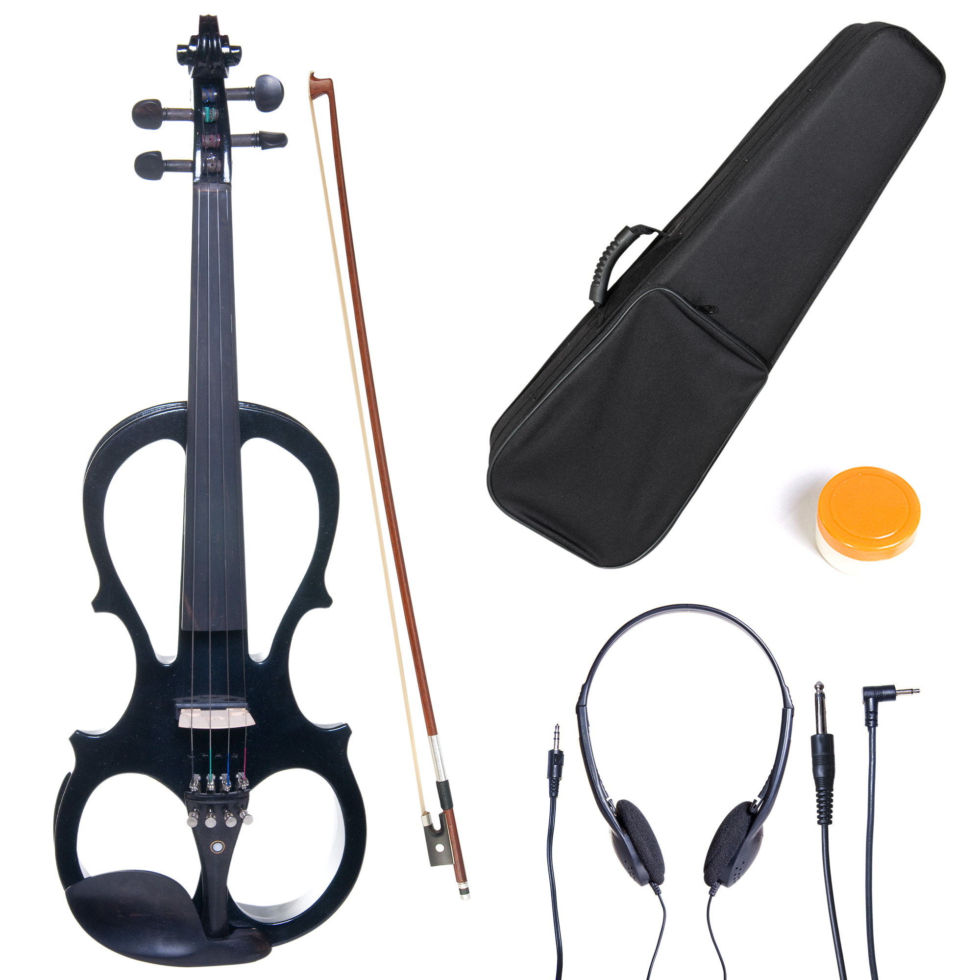 Cecilio 4/4 CEVN-1BK Solidwood Metallic Black Electric/Silent Violin with Ebony Fittings-Full Size