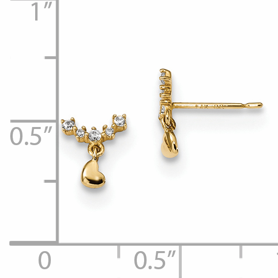 14k Yellow Gold Childrens Curved Cubic Zirconia Cz Bar Tiny Heart Drop Dangle Chandelier Post Stud Earrings Love Fine Jewelry Gifts For Women For Her - image 1 de 2