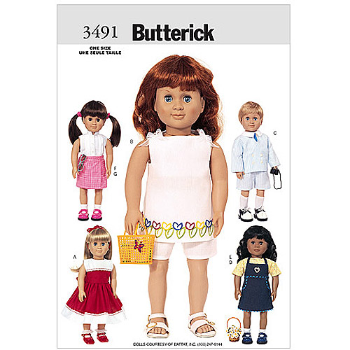 """Butterick Pattern 18"""" (46cm) Doll Clothes, 1 Size Only"""