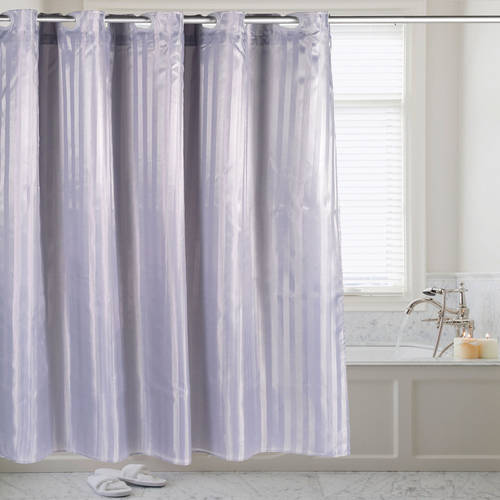 "Hookless Fabric Dobby Stripe Shower Curtain with Snap Off Liner, 70"" x 75"""