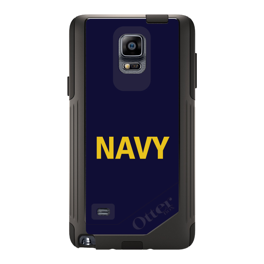 DistinctInk™ Custom Black OtterBox Commuter Series Case for Samsung Galaxy Note 4 - Yellow Navy