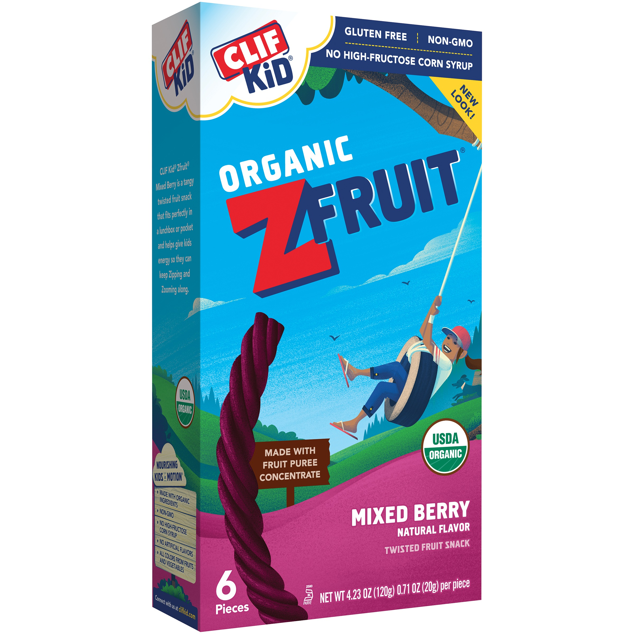 Clif Kid® Organic ZFruit Mixed Berry Twisted Fruit Rope 6-0.71 oz. Wrappers