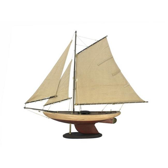 Handcrafted Decor R-Bermuda-Sloop-30 Wooden Rustic Bermuda Sloop Model Sailboat Decoartion, 30 in. by Handcrafted Decor
