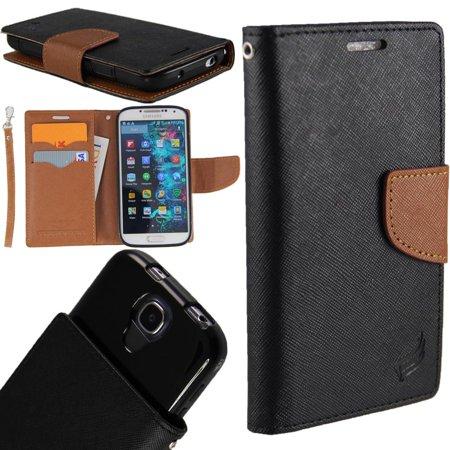World Acc  For Motorola Moto E4 Plus   Moto E 4 Plus Case Pu Leather Flip Cover Folio Book Style Pouch Card Slot Wallet  Black Brown
