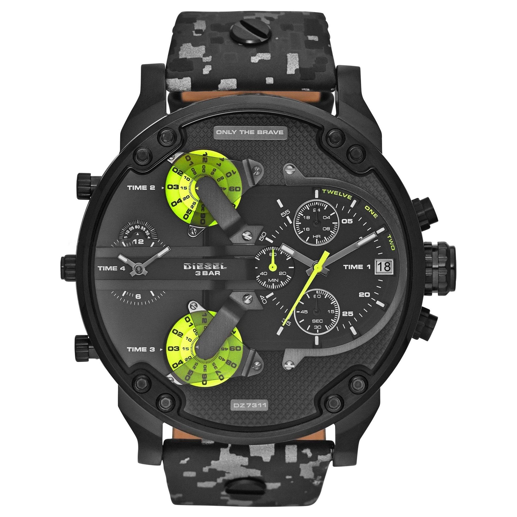Diesel Men's Mr. Daddy 2.0 Black Camo Chronograph Watch DZ7311