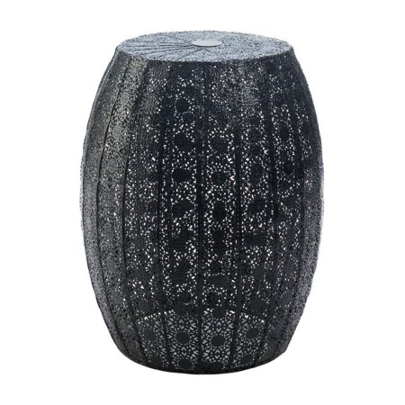 Accent Plus Round Garden Stool, Metal Black Moroccan Lace Decorative Portable Garden Stool (Decorative Garden Stool)