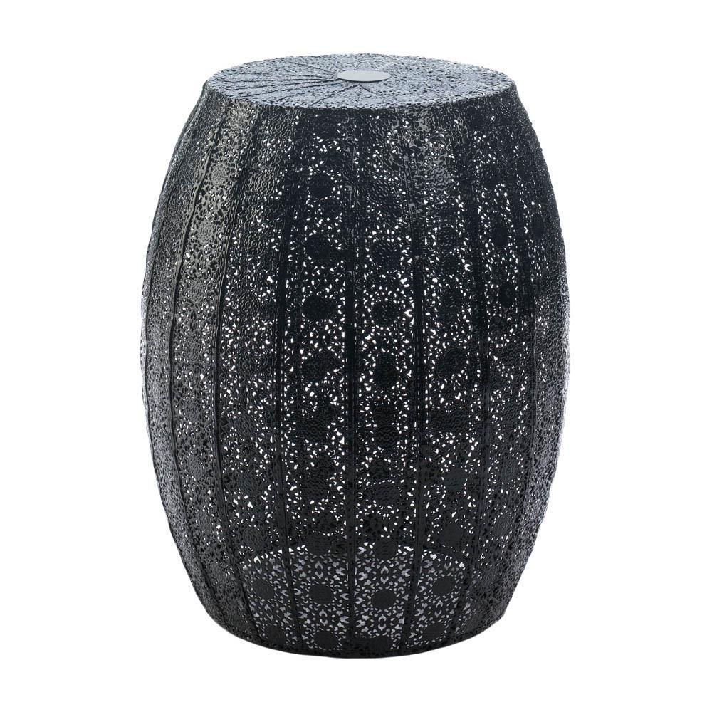 Nice Round Garden Stool, Metal Black Moroccan Lace Decorative Portable Garden  Stool