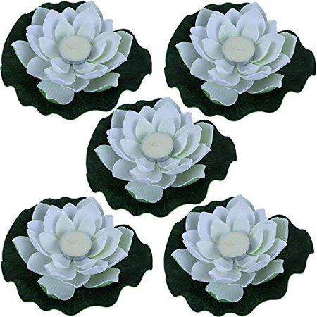 Just Artifacts 5pc Foam Lotus Floating Water Flower Candle (Color: - Flower Candles