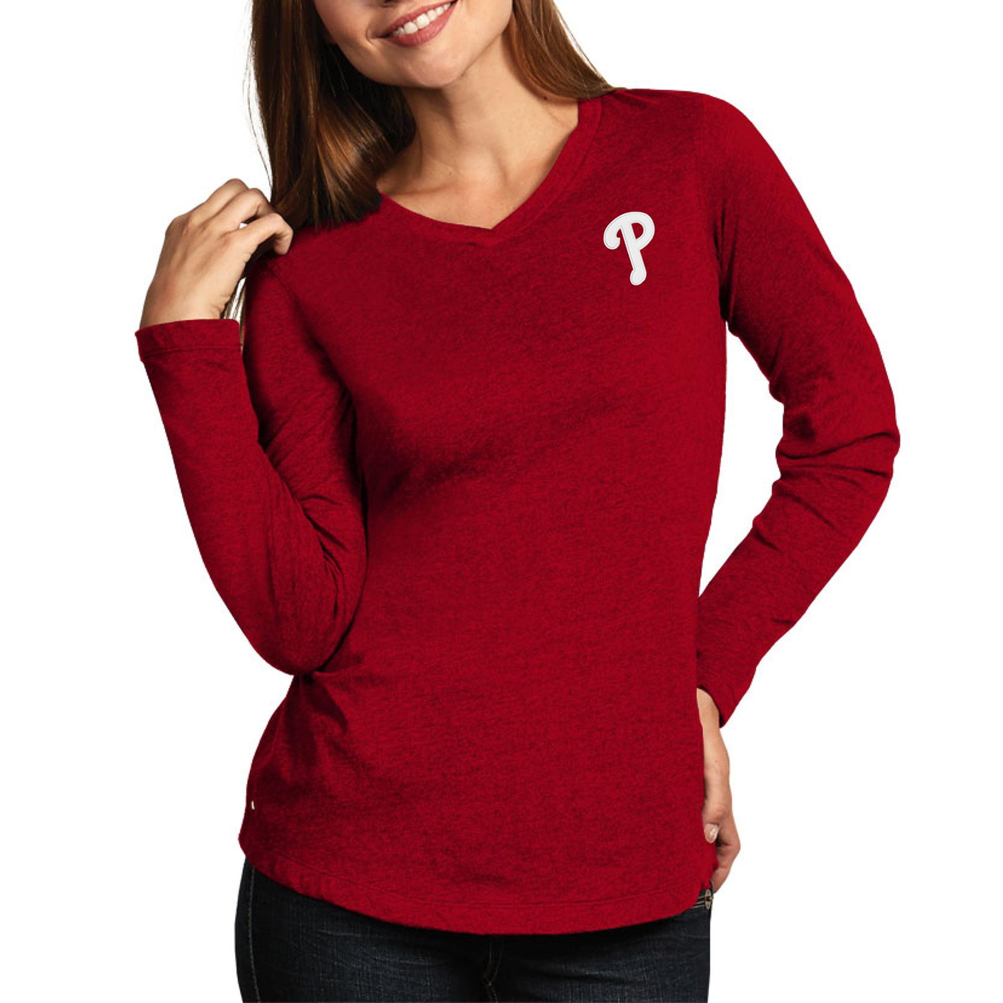 Philadelphia Phillies Antigua Women's Flip Long Sleeve T-Shirt - Heather Red