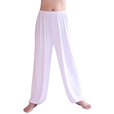 aa35c074be9b1 HOEREV Men's Super Soft Modal Spandex Harem Yoga/Pilates Pants, White,  Medium - Walmart.com