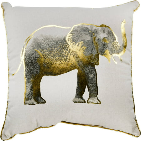 Better Homes & Gardens Gold Elephant Decorative Throw Pillow, 18u0022 x 18u0022