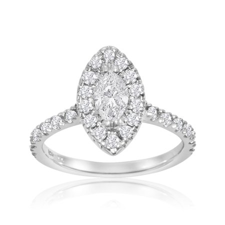 1 Carat Marquise Cut Halo Diamond Engagement Ring in 14 Karat White Gold Size 6