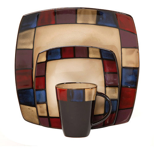 Soho Lounge Mosaic 32-Piece Dinnerware Set Bundle