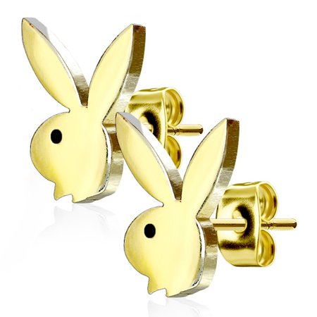 316L Surgical Steel Playboy Bunny Stud Earrings (Gold Tone) - Playboy Bunny Accessories