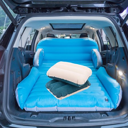 Universal SUV Car Air Mattress Travel Bed Inflatable Mattress Air Bed with Pump and 2 Inflatable Pillows Portable Camping Outdoor Auto Back Cover Sofa