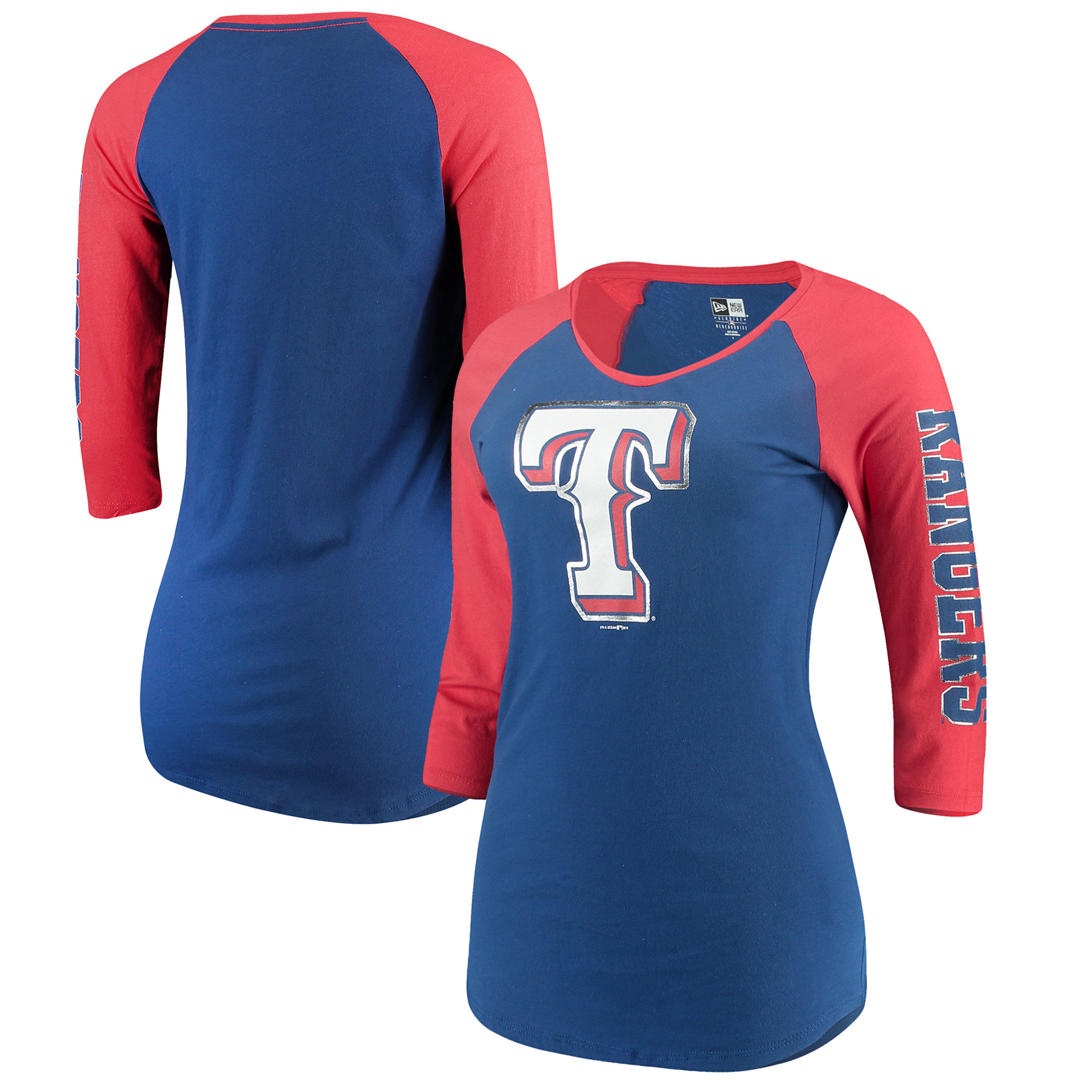 Texas Rangers 5th & Ocean by New Era Women's Foil 3/4-Sleeve T-Shirt - Royal/Red