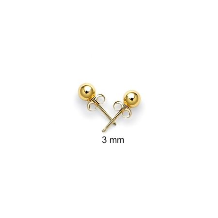 14k Yellow Gold Hollow Center Kids Ball Stud Earrings 3mm
