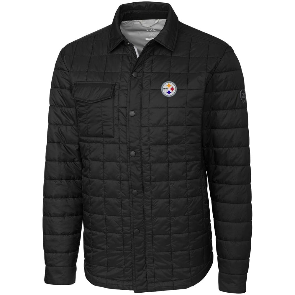 Pittsburgh Steelers Cutter & Buck Big & Tall Rainier Shirt Jacket - Black