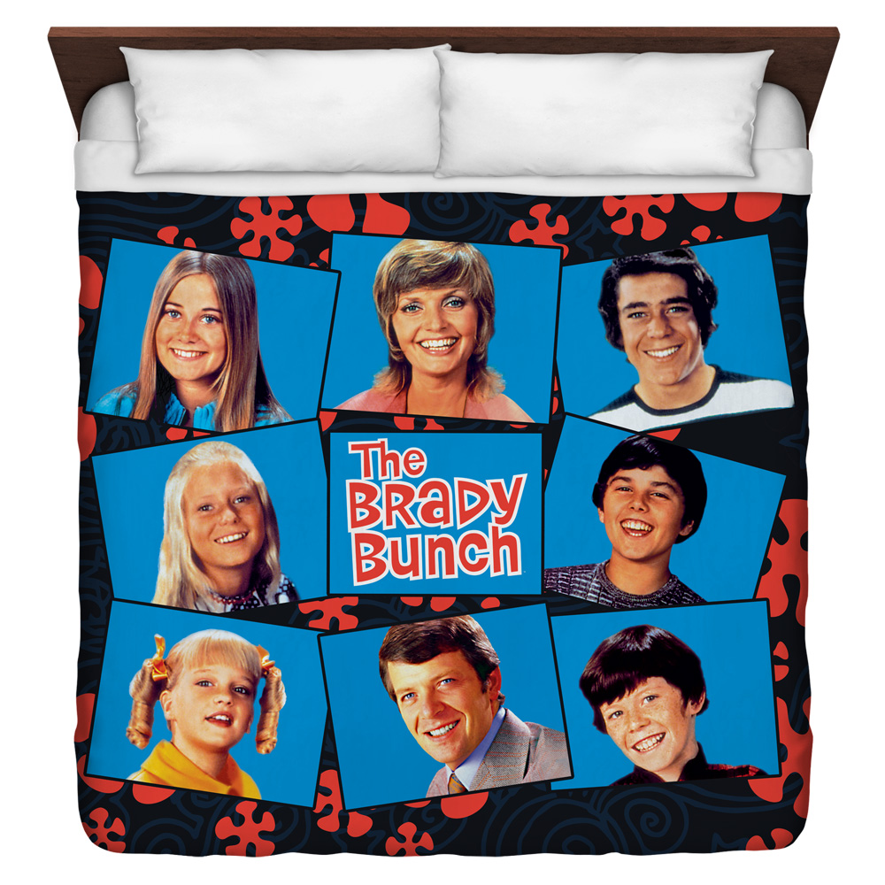 The Brady Bunch Squares King Duvet Cover White 104X88