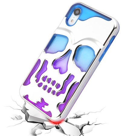 iPhone XR Case by Insten Skullcap Dual Layer [Shock Absorbing] Hybrid Electroplating Hard Plastic/Soft TPU Rubber Case Cover For Apple iPhone XR, Blue/Purple - image 2 de 4