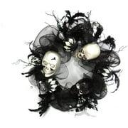 "22"" Foam Skull and Feather Halloween Wreath"