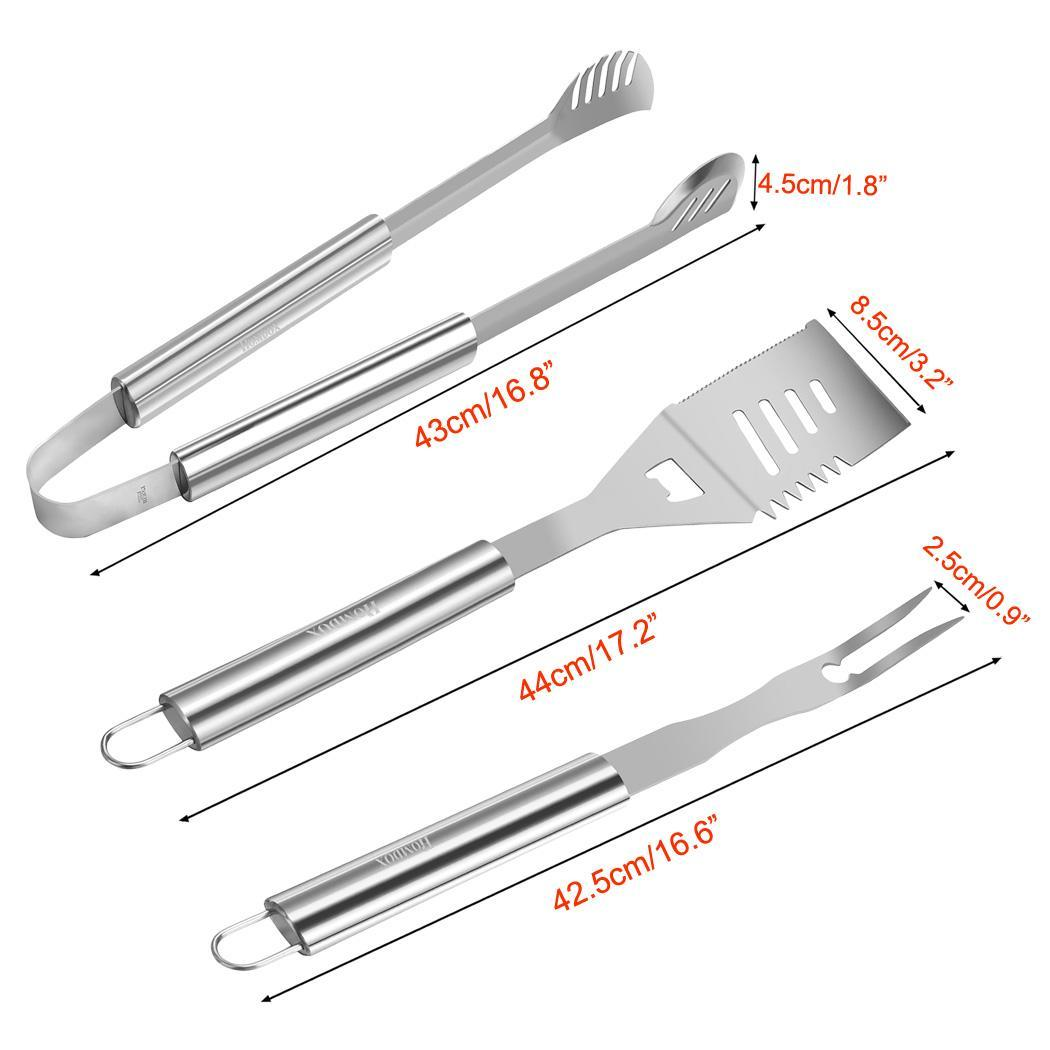 3pcs Stainless-Steel BBQ Grilling Utensils Tools for Barbecue Spatula, Tongs, Fork by