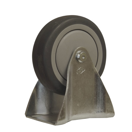 CASTER 4 INCH FIXED 375 lb. thermoplastic rubber, standard plate 1-3/4 x 2-7/8