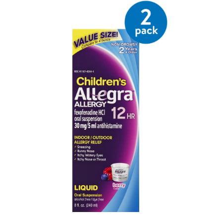 (2 Pack) Allegra Children's 12 Hour Allergy Oral Suspension, Berry, 8 Fl Oz