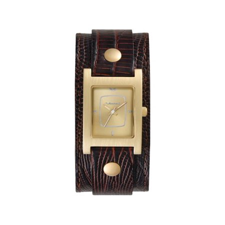 Dial Lizard Strap - Vestal Electra Women's Stainless Analog Watch - Brown Lizard Leather Strap - Gold-Tone Dial - EA013